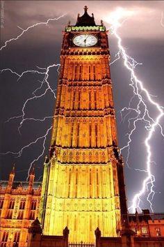 Lightning - strikes 'Big Ben' - London, England