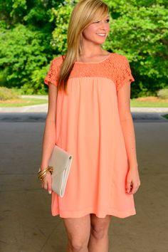 Crochet Accent Dress, Neon Coral