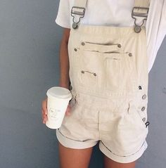 jumpsuit white white jumpsuit coffee denim overalls hipster alternative summer spring holidays denim overalls short overalls romper cream shorts pants pastel