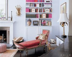 """""""A Venetian chaise is dressed up with a pillow from Geminola; the palm-leaf lamp from Le Decor Francais dates from the Manhattan Apartment of Candace Bushnell. """"At Home With Candace Bushnell,"""" Elle Decor. Decoration Inspiration, Interior Inspiration, Daily Inspiration, Library Inspiration, Bathroom Inspiration, Color Inspiration, Feng Shui, Living Room Designs, Living Spaces"""