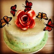 My contribution to The Flutter collaboration celebrating the beauty of butterflies Hand painted watercolour meadow flowers with wafer paper butterflies Butterfly Cakes, Flower Cakes, Wafer Paper, Love Cake, Collaboration, Cake Decorating, Cupcakes, Hand Painted, Cookies