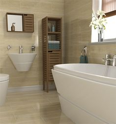 Neutral wall tiles can make a small bathroom appear larger #bathroomtiles