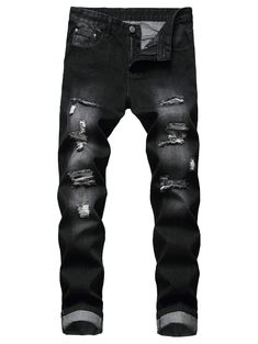 Destroy Wash Long Zip Fly Jeans Gift idea for man Jean Straight, Straight Leg Pants, Destroyed Jeans, Ripped Jeans, Jogger Pants, Denim Pants, Diy Man, Jean Diy, Outfit Man