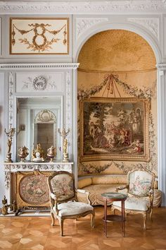 possibility to trim above niche in piano room to square off to door. French Interior, Classic Interior, Classic Home Decor, Classic House, Steel Furniture, Unique Furniture, Furniture Ads, Furniture Removal, Familie Rothschild