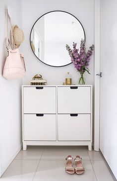 Still my favourite nook in my apartment. This handy 'Stall' shoe storage unit from holds about 8 pairs of shoes with space… Hallway Shoe Storage, Shoe Storage Unit, Shoe Storage And Mirror, Shoe Storage Ideas Bedroom, Hallway Decorating, Entryway Decor, Flur Design, Hallway Furniture, Hallway Designs
