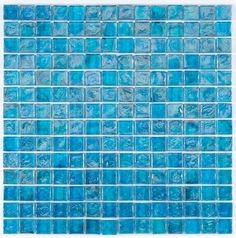 Iridescent Pool Glass Tile Pale Blue 1x1 for pool, Jacuzzi, water feature, spa, backsplash, bath, and fireplace. Watch video for color, size and finish details.
