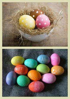 Dá até para colocar o nome das pessoas queridas nos ovinhos coloridos!