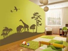 A kids jungle wall. Same page- grass rug cut as path through room.