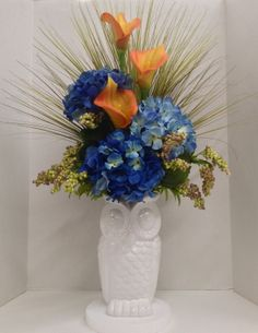 Spring Blue Hydrangeas and Orange Calla Lilies on White Owl Vase Faux Floral 2014 Season design and Arrangement. Arts & Crafts ROCK! http://nfmdesign.synthasite.com/