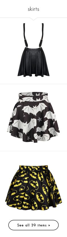 """skirts"" by chemicalfallout249 ❤ liked on Polyvore featuring skirts, bottoms, saias, dresses, skater skirt, wet look skirt, circle skirts, shiny skirt, flared skirt and batman"