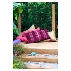 GAP Photos - Garden & Plant Picture Library - Cushions on oak decking. 'The Yoga Garden' - Bronze Medal Winner - RHS Hampton Court Flower Show 2010 - GAP Photos - Specialising in horticultural photography