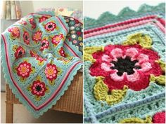 crochet patterns for home: painted roses blanket by Sandra Paul: download at LoveCrochet