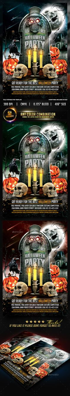 Halloween Party Flyer Template PSD #design Download: http://graphicriver.net/item/halloween-party-flyer-template/8899096?ref=ksioks