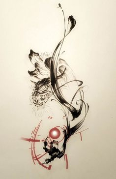 Dragon, sumi, brush, tattoo, brush strokes, tattoo design, tattoo artwork, Japanese style tattoo