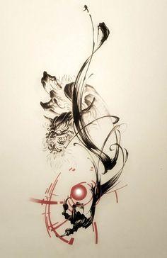 Dragon, sumi, brush, tattoo, brush strokes, tattoo design, tattoo artwork, Japanese style tattoo