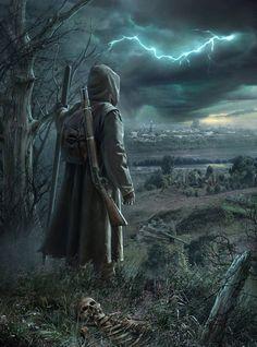wanderer with gun. ruined city. storm. Black Stalker by hagtorp762 on DeviantArt