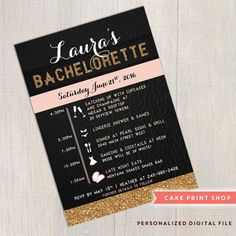 Printable invite! Glitter Bachelorette invitation or Birthday invitation - Printable invite  Bachelorette wording can be changed to Birthday party or Hens Party as an example.  [Bachelorette section with 2 page itinerary designs - https://www.etsy.com/shop/CakePrintShop?section_id=14553730 ]