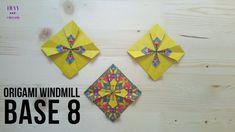 How to fold another origami windmill base model. Origami Wall Art, Origami Quilt, 3d Origami, Diy Origami Earrings, Origami Windmill, Diy And Crafts, Paper Crafts, Travel Oklahoma, Mandala