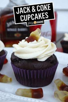 Gourmet Cupcake Recipes, Cupcake Flavors, Baking Recipes, Dessert Recipes, Cupcake Fillings, Dessert Ideas, Coke Cupcakes, Whiskey Cupcakes, Cupcake Cakes
