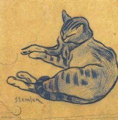 Théophile-Alexandre Steinlen -- The Blue Cat, c. 1900