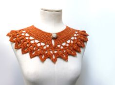 Crochet Peter Pan Collar in Rusty Orange Wool with Silver Button - Womens Lacy Crochet Collar - NINETTE