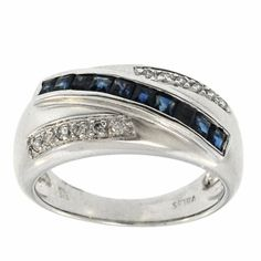 0.80 Cttw G SI Round Diamond and Princess Cut Sapphire Ccoktail Ring in 14K White Gold by GetDiamondsDirect on Etsy