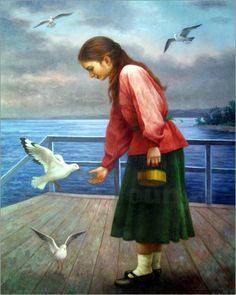 Seagulls and girl  by Yoo Choong Yeul