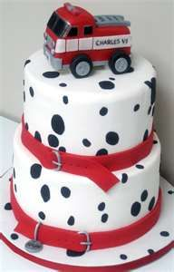 firefighting cake, fire truck, red, white and black, spots