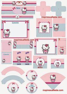Kit Rosa y Celeste de Hello Kitty para Imprimir Gratis.