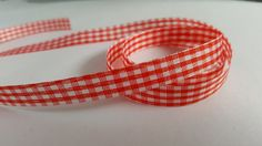 3m Ribbon - Gingham Check - 10mm - Red