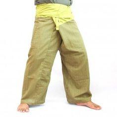 Thai pantalones de tonos verdes algodón mezcla - algodón-