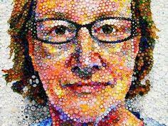 Mosaic Self-Portrait Constructed with 7,000 Colorful Bottle Caps; multi-media artist Mary Ellen Croteau