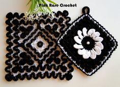 PINK ROSE CROCHET : Pega Panelas Ondulado Crochet Wiggly Black & White