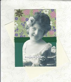 Vintage Style Note Card for Tom Brady Fans Collage Art - Tom is Always Terrific for Her - pinned by pin4etsy.com