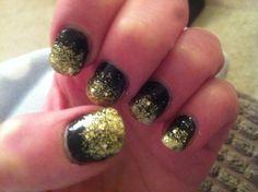 Black with gold graduated glitter nail art