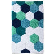 "Target - Room Essentials Hexagon Bath Rug in Blue.  In store; not online.  20"" x 34"".  $20."