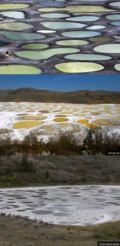 The Spotted Lake is in the Okanogan Valley, BC Canada. In winter it looks normal but in  summer the water evaporates revealin multi-colored spots of various sizes across the lake bed ... it's just a rare natural phenomenon. Spotted Lake is a saline endorheic alkali lake, which means it's got a high pH, it's salty n it doesn't drain out anywhere. It also contains large amts of a lot of different minerals which form deposits when the water dries up, creatin the weird spotted effect.