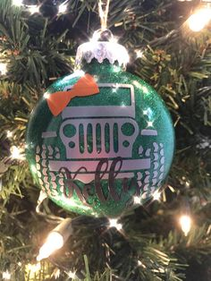 Show your Jeep some love this Christmas with a custom Jeep ornament. Perfect for yourself or for the Jeep Lover in your life! Customize with a bow, and a name or Jeeps name! Choose from glitter colors in picture 1 an 4, and Decal colors from picture 3. Choose up to 3 Decal colors. Please