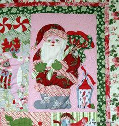 "closeup, ""Noel"" applique, a Carrol McVey Quilt, Aunt Mary's Quilt Shop | Camlyn Quilts. Noel pattern by Verna Mosquera."