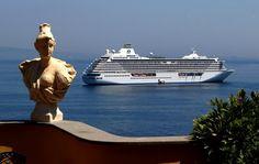 Crystal Serenity sails off Sorrento, Italy.