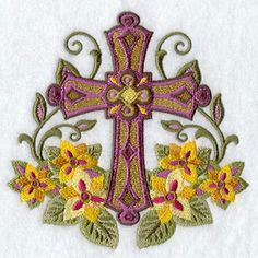 Carpet of Flowers  Cross Machine Embroidered Quilt Block