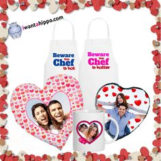2 x Aprons, His and Hers, Hers and Hers or His and His - RRP each A personalised, Heart Shaped Cushion - RRP each A personalised, Heart Shaped Photo Slate - RRP each A personalised Heart Mug - RRP each RRP price: plus postage Valentines Offer: with f
