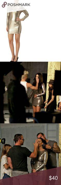 Kardashian Kollection Sequin Dress Long sleeve sequin mini dress. Champagne color. Kardashian Kollection Dresses Mini