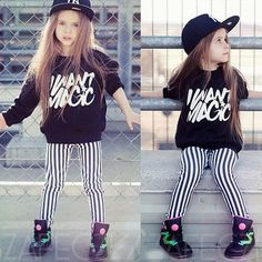 Graphic sweatshirt + striped jeans + tennis and a hat