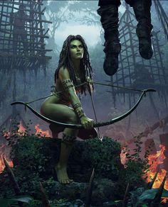 The Witcher/ Morenn/ Gwent Card/ Scoia'tael Fantasy Forest, High Fantasy, Dark Fantasy Art, Fantasy Women, Fantasy Girl, Fantasy Artwork, The Witcher, Witcher Art, Larp