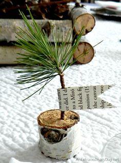 Birch Pine Sapling Favors ::  Birch Branch Winter Woodland Tablescape  :: AnExtraordinaryDay.net