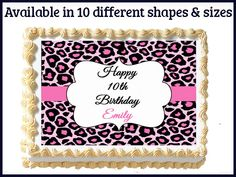 Pink Cheetah Leopard Print Edible Sweet 16 by mycaketopperdesigns