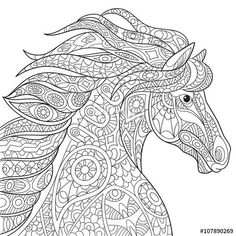Stock vector of 'Zentangle stylized cartoon horse (mustang), isolated on white background. Hand drawn sketch for adult antistress coloring page, T-shirt emblem, logo or tattoo with doodle, zentangle design elements. Adult Coloring Pages, Horse Coloring Pages, Doodle Coloring, Mandala Coloring, Colouring Pages, Printable Coloring Pages, Coloring Books, Coloring Sheets, Coloring Worksheets