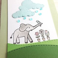 Our fun new elephant clear stamp set with stitched clouds and colorful sequin rain!