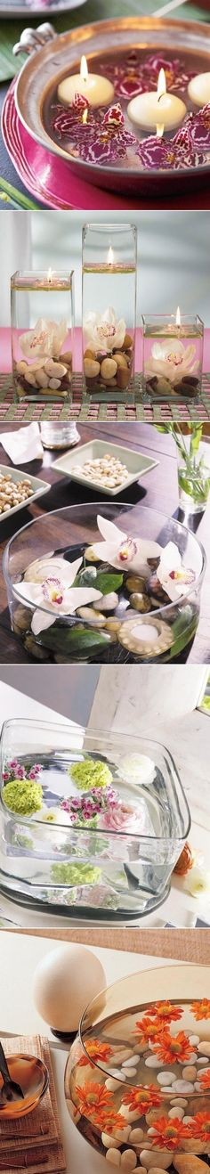 DIY Floating Flowers And Candles Centerpieces